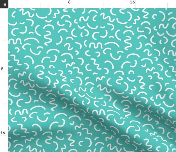 Fabric by the Yard rad 80s 90s felt tip pen pool blue summer tropical  memphis design