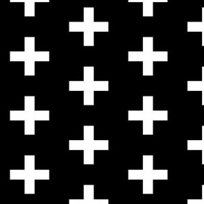 black and white cross plus
