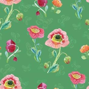 Wildflowers & Butterflies Green