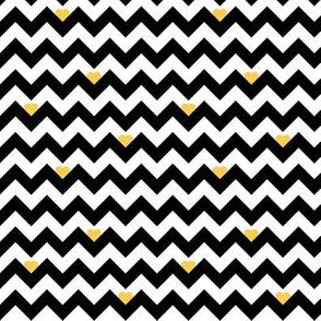 heart & chevron - black/yellow - mini
