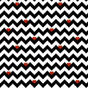 heart & chevron - black/red - mini