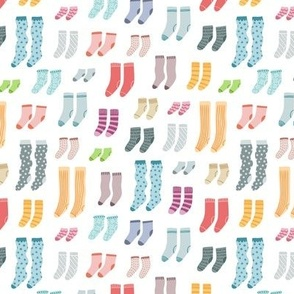 A lot of different socks, cartoon style pattern