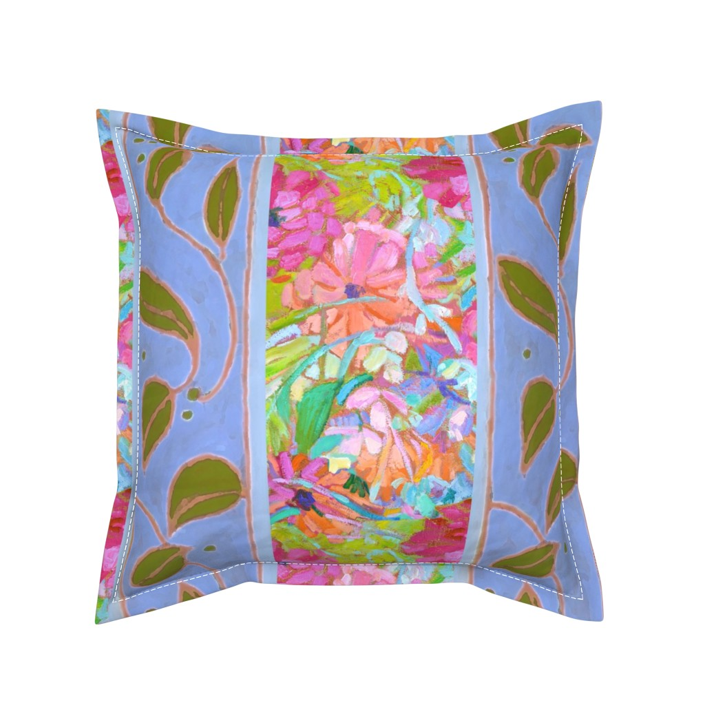 Serama Throw Pillow featuring Zinnia Jewels Wide Stripe Provence Blue by dorothyfaganartist