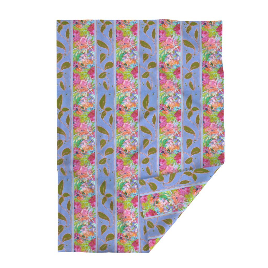 Lakenvelder Throw Blanket featuring Zinnia Jewels Wide Stripe Provence Blue by dorothyfaganartist