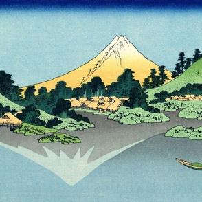 Mount Fuji reflects in Lake Kawaguchi, seen from the Misaka Pass in Kai Province