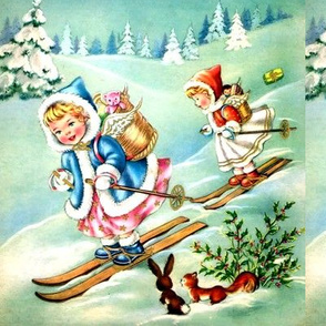 retro merry Christmas angels cherubs winter snow alps mountain alpine hills skis skiing trees forests squirrels rabbits mistletoe toys gifts presents