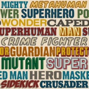 Superhero Titles Vintage - Hero, Crusader, Wonder, Sidekick, Comic