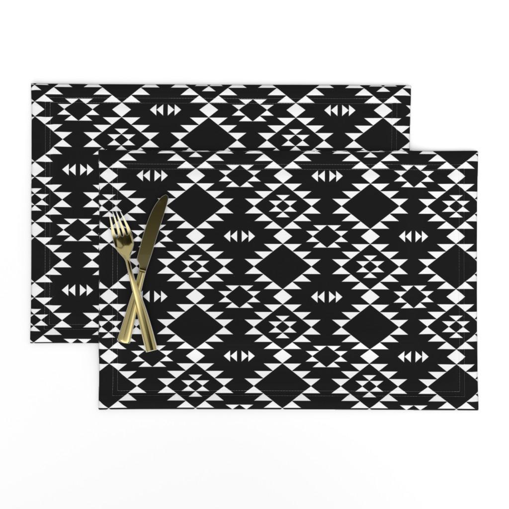 Lamona Cloth Placemats featuring Navajo - Black & White by kimsa