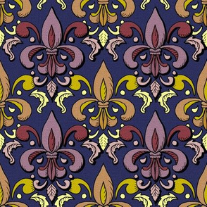 fleur de lis damask in navy and berry