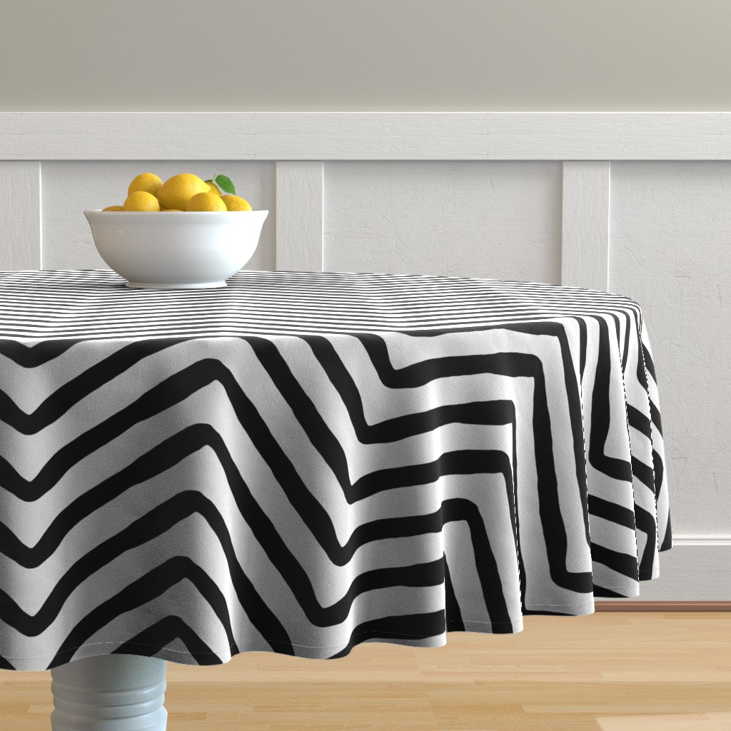 Malay Round Tablecloth featuring Yoruba Herringbone by willowlanetextiles