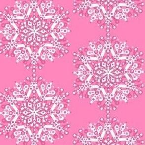 Pink Christmas fabric //  pink snowflake  // Pink //  Holidays  // Christmas