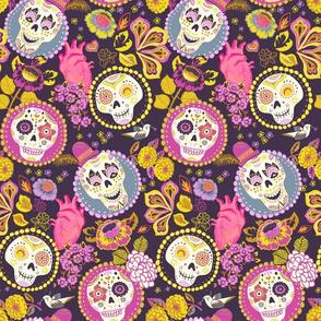 Día de los muertos - skull fabric dark