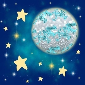 Blue Moon and Pale Glowing Yellow Stars