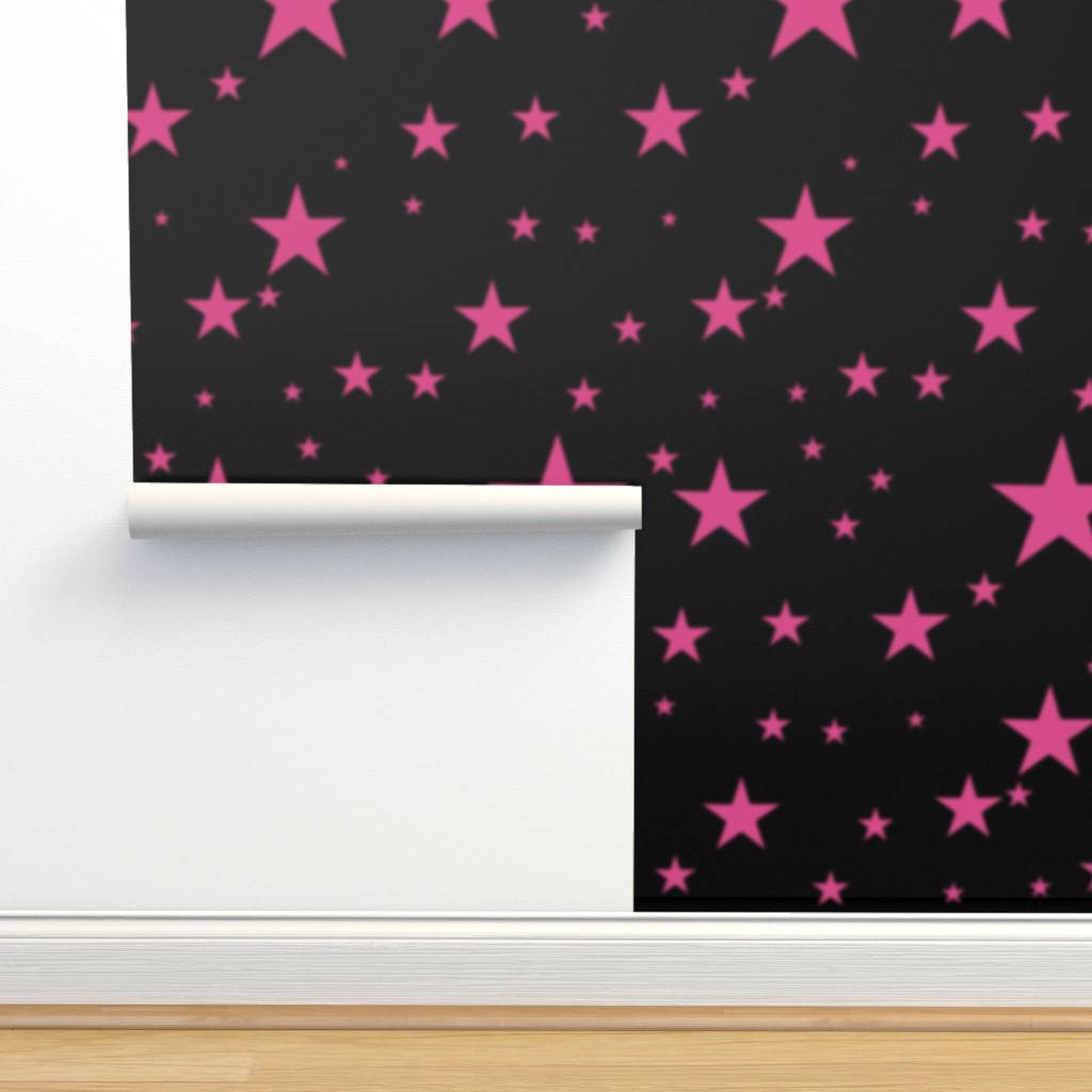 Pink Glowing Stars On Black Sky On Isobar By Bohobear Roostery