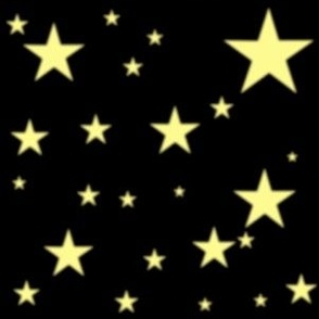 Yellow Glowing Stars on Black Sky