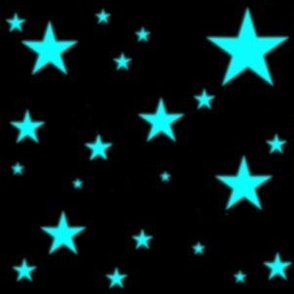 Aqua Blue Glowing Stars on Black