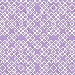 Trellis lilac and white