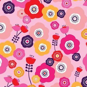 Pink poppy summer flowers illustration blossom