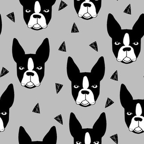 boston terrier // grey boston terrier dog cute pet dog breed fabric