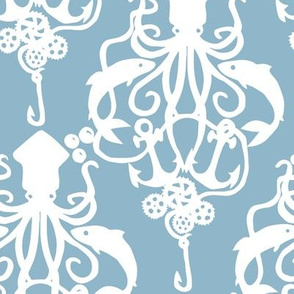 Squid Damask Blue