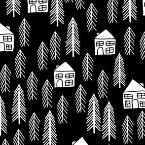 cabin // forest trees black and white kids outdoors fairytale fabric