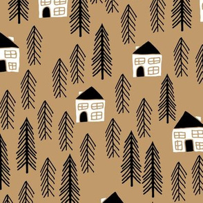 cabin // forest trees black and white outdoors brown khaki