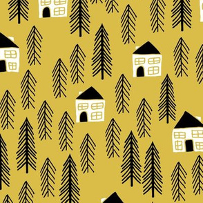 cabin // forest trees woodland mustard outdoors camping