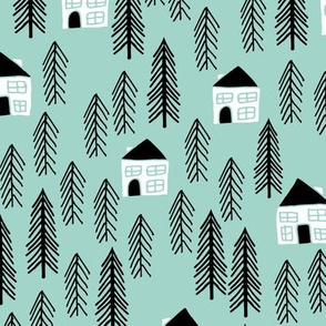 cabin // mint forest trees kids nursery baby black and white outdoors camping