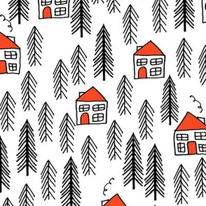 cabin fabric // forest fir tree forest trees black and white cute cabin