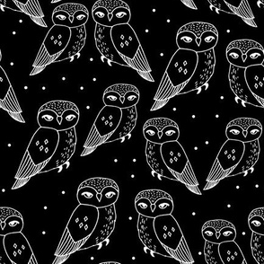 owls // black and white owls hand-drawn owl illustration featuring cute little owl design