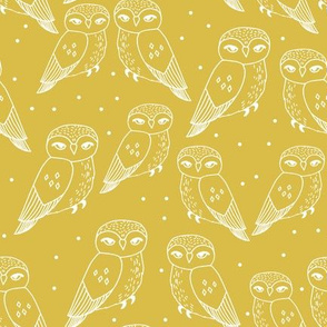 owls // mustard hand-drawn bird illustration by Andrea Lauren