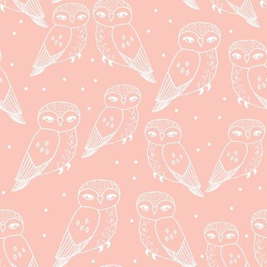 owls // pastel pale pink owls and polka dots by Andrea Lauren