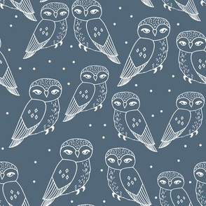 owls // dusty blue payne's grey owls and dots hand-drawn illustration by Andrea Lauren