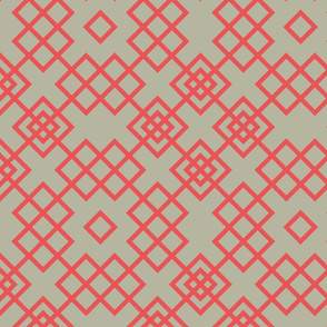 trellis red and grey