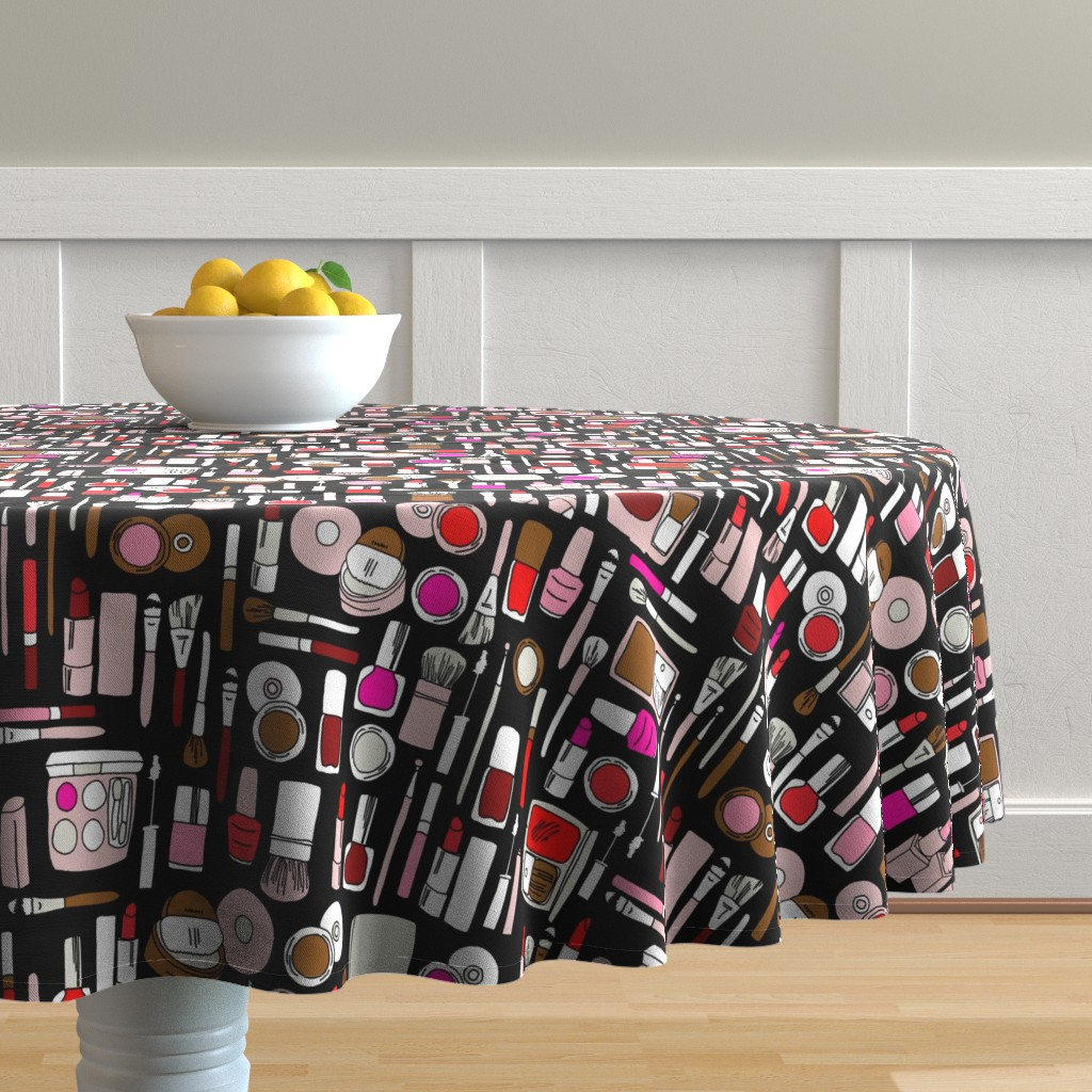 Malay Round Tablecloth featuring makeup // red pink magenta by andrea_lauren