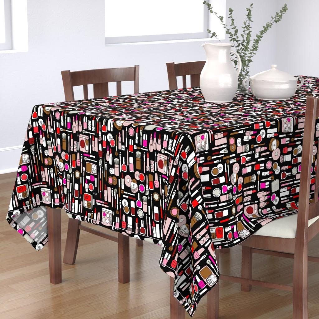 Bantam Rectangular Tablecloth featuring makeup // red pink magenta by andrea_lauren