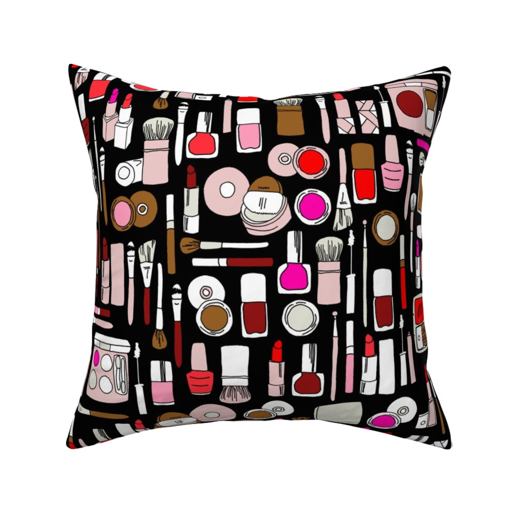 Catalan Throw Pillow featuring makeup // red pink magenta by andrea_lauren