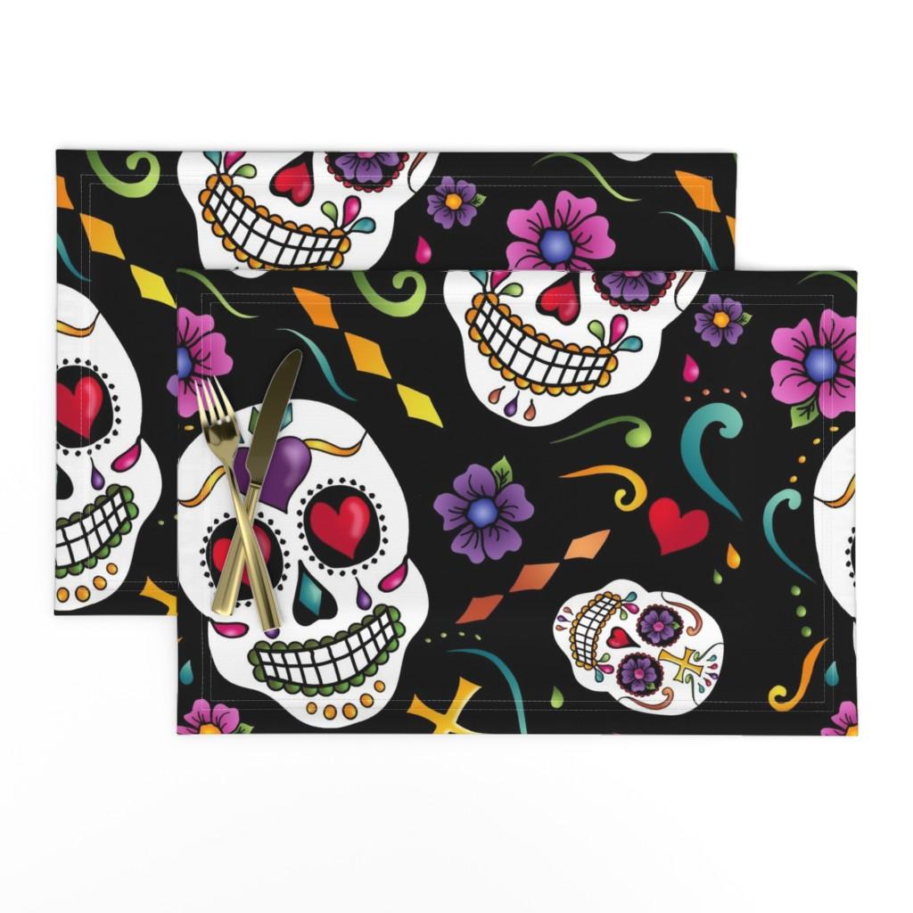 Lamona Cloth Placemats featuring Calaveras Celebration by designergal