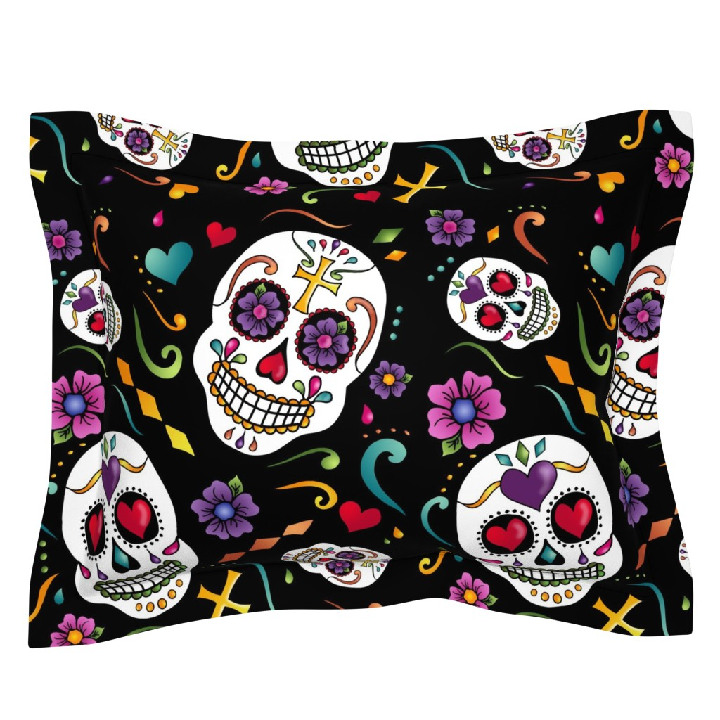 Sebright Pillow Sham featuring Calaveras Celebration by designergal