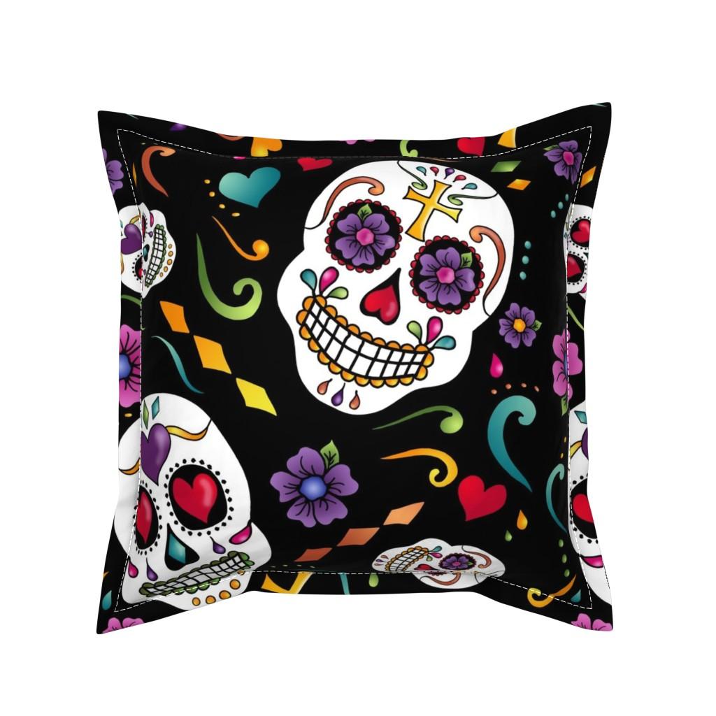 Serama Throw Pillow featuring Calaveras Celebration by designergal