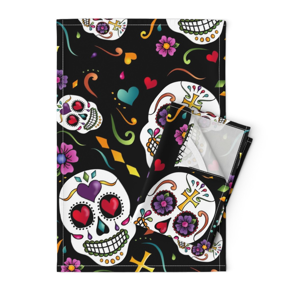 Orpington Tea Towels featuring Calaveras Celebration by designergal