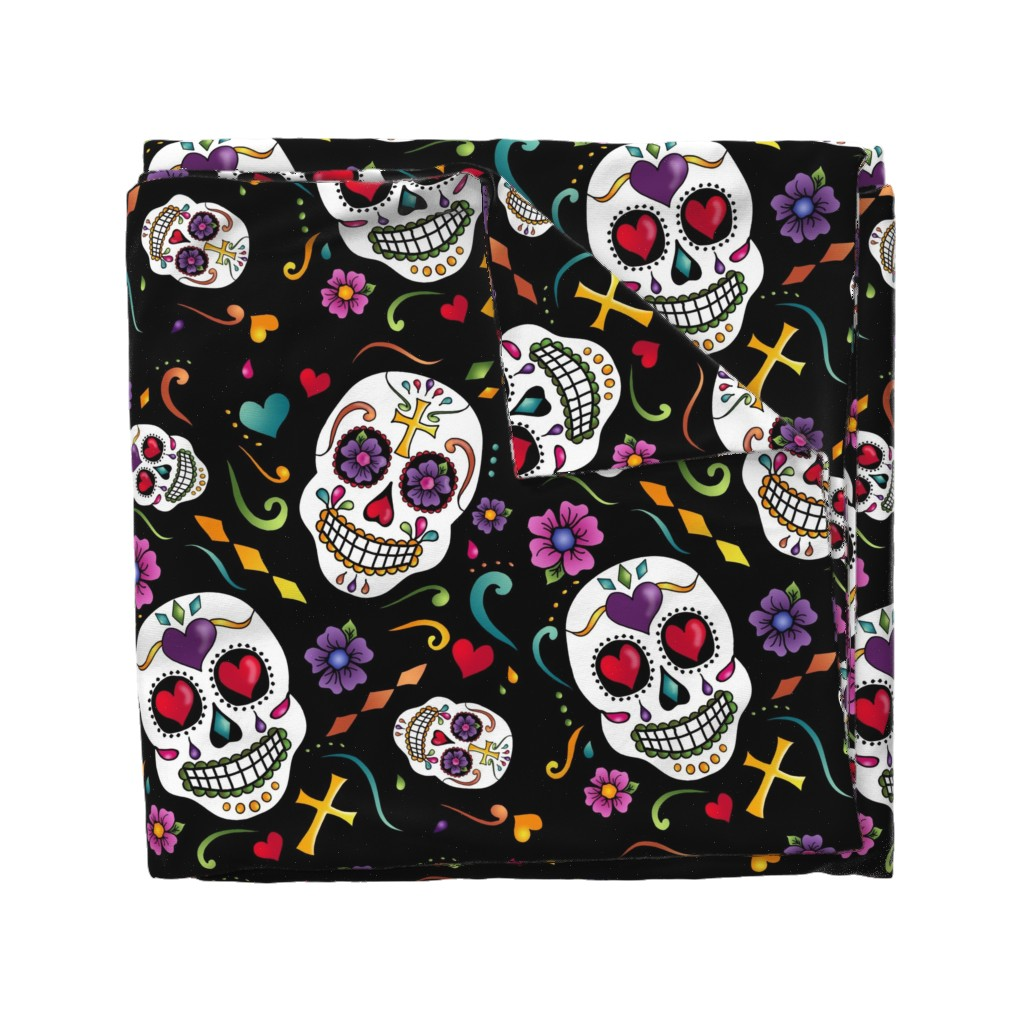 Wyandotte Duvet Cover featuring Calaveras Celebration by designergal