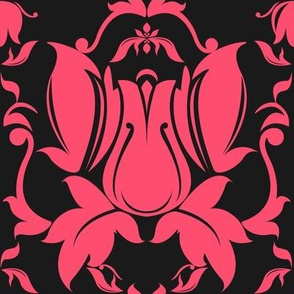 Hollywood Damask Pink on Charcoal