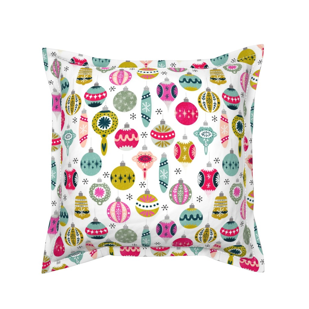 Serama Throw Pillow featuring christmas ornaments // vintage christmas ornaments cute retro ornaments xmas holiday christmas fabric by andrea_lauren