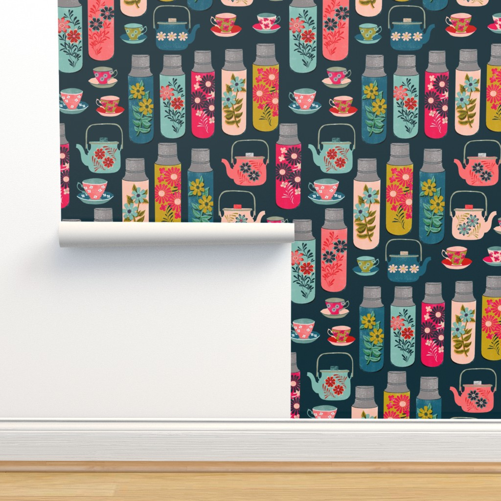 Isobar Durable Wallpaper featuring tea thermos // vintage tea florals tea party cute thermos design by andrea_lauren