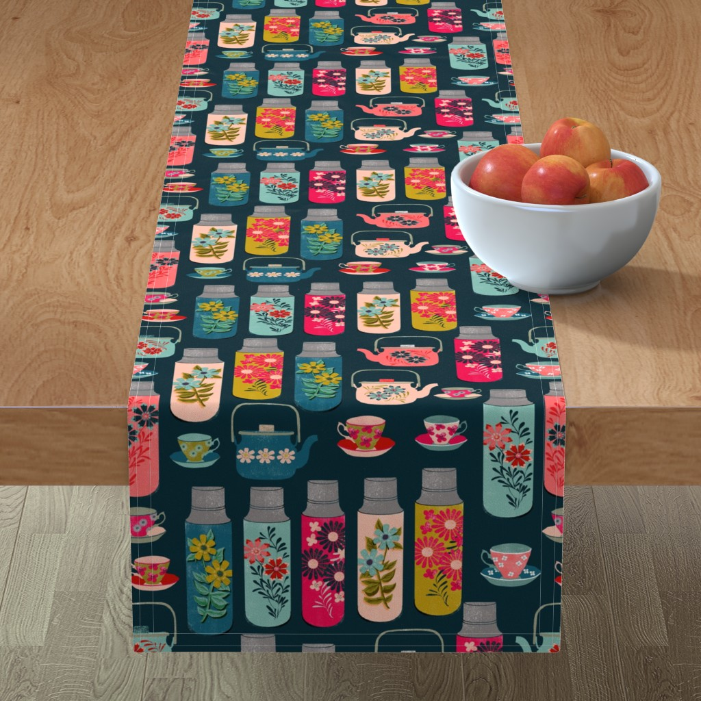 Minorca Table Runner featuring tea thermos // vintage tea florals tea party cute thermos design by andrea_lauren