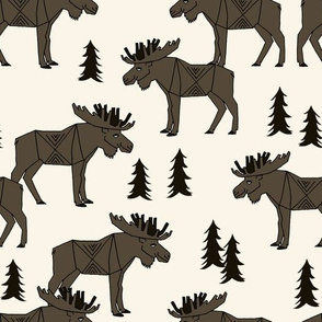 Moose Forest fabric - Dark Brown and Cream by Andrea Lauren