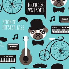 Cute blue pug puppy hipster jazz illustration music instruments retro pattern illustration