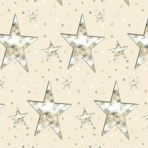 Gold Cream Stars and Dots