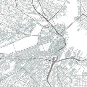 "Boston grey city streets fabric 18x18"""